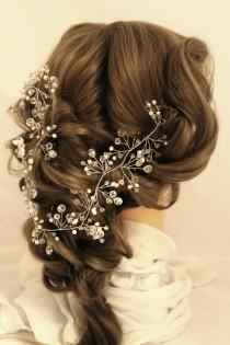 wedding photo - Long Hair Vine Hair Vine bridal Crystal wreath Pearl Hair Vine bridal headband hair vine long wedding vine pearl hair Crystal long Vine