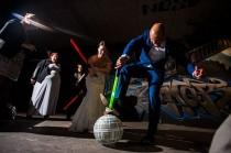wedding photo - YODA SODA: This couple destroyed the Death Star at their Star Wars vow renewal!