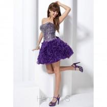 wedding photo - Handmade Beaded Bodice Purple Organza Strapless A-line Quality Prom/evening/cocktail Dress Hannah S 27749 - Cheap Discount Evening Gowns