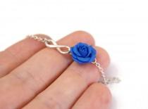 wedding photo - Sterling Silver Bracelet, Blue Rose Infinity Bracelet, Blue Bridesmaid Jewelry, Rose Jewelry, Bridal Flowers, Bridesmaid Bracelet