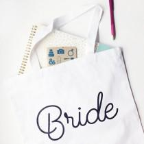 wedding photo - Bride Tote, Black and White Wedding Planning Canvas Bag, Engagement Gift From The Maid of Honor To Her Best Friend, Carry All Your Stuff