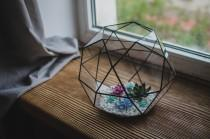 wedding photo - Large terrarium icosidodecahedron Stained glass terrarium Glass decoration Planter for indoor gardening Home decor Christmas terrarium