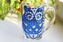 wedding photo - Blue Mug Owl Coffee Mug Funny Coffee Mugs for Women Aniversary Mug Custom Glass Mug Gift Handpainted Mugs Coffee Cup Personalized Coffee Mug