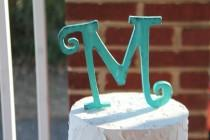wedding photo - Rustic distressed wood curly letter initial wedding cake topper. Turquoise or custom color.