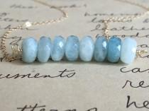 wedding photo - Aquamarine Necklace - Aquamarine  Wedding Jewelry - Something Blue - Aquamarine Stone  - Bridesmaid Necklaces - Bridal Necklace