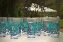 wedding photo - Peacock Glasses - 12 Peacock Feather Wedding Glasses - Peacock Wedding, Water Glasses, Drinking Glasses, Glassware, Glasses