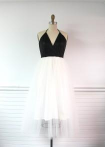 wedding photo - Vera faux leather and tulle dress, Made to Order, party dress, holiday dress, tulle bridesmaid dress, ballerina dress, tea length dress