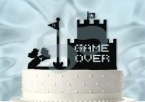 wedding photo - Mario and Peach Inspired Wedding Cake Topper