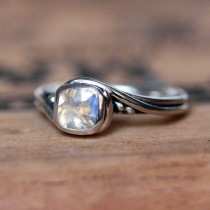 wedding photo - Moonstone engagement ring, rainbow moonstone ring, unique gemstone ring sterling silver, silver swirl ring, pirouette ring, custom