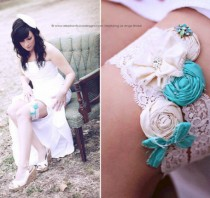 wedding photo - Wedding garter set, SILK, Aqua, Turqouise /Silk Wedding Garter, bridal garter / Something Blue wedding garter / vintage lace garter