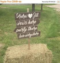 wedding photo - ON SALE Wedding directional sign - directional wedding signs - rustic wedding signs - wedding signage - vows here party there love everywher