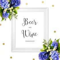 wedding photo -  Wedding Beer and Wine Sign-Chic Calligraphy Wedding Bar Sign-Printable Wedding Drink Sign-Rustic Wedding Decor- Wedding Alcohol Bar Sign