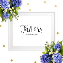 wedding photo - Wedding Favors Sign-Printable Chic Calligraphy Please Take One Favor Sign for Weddings-Favor Table Sign for Weddings, Bridal Shower,