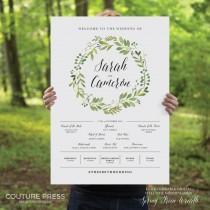 wedding photo - Printable Wedding Welcome Sign, Watercolor, Rustic Whimsical DIY Printable Sign, Wedding Signage - Spring Green Wreath