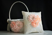 wedding photo - Peach Ring Bearer Pillow  Peach Flower Girl Basket  Peach Wedding Pillow  Peach Wedding Basket Pillow Set  Ivory Peach Bearer Pillow