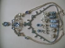 wedding photo - Sparkling Blue Ice Rhinestone Crystal AB Aurora Borealis Lot of Necklaces and Screw Back Clip Earrings Signed CORO Avon & Unsigned Treasure