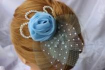 wedding photo - Bridal Hair Pin, Bridal Accessories, Wedding hair accessories, Blue hair flower, Bridal hair clips, Brooch for bridal