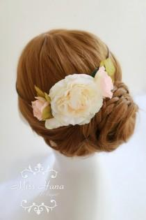 wedding photo - Bridal Hair crown, Bridal hair accessory, Bridal hair hairpiece flower, Bride wreath, Bridesmaid Rustic Vintage outdoor wedding woodland