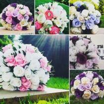 wedding photo - White Pink Bride Bouquet Wedding Paper Flowers, Paper Roses, Crepe paper flowers bouquet