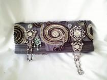 wedding photo - grey handmade bag, couture purse, gray beaded purse, grey steampunk purse, silver beaded clutch,