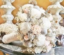 wedding photo - Blush Heather Gray Champagne Ivory Sola Bouquet, Blush Wedding, Champagne Wedding Flowers, Bidal Accessories, Sola Flowers, Bridal Bouquet