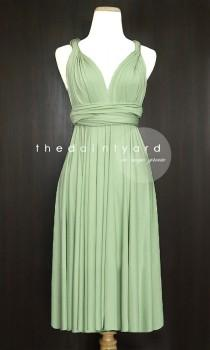 wedding photo - Short Straight Hem Sage green Infinity Dress Multiway Dress Bridesmaid Dress Convertible Dress Wrap Dress  Wedding Dress Maid of Honor Dress