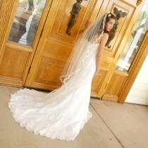wedding photo - Waltz length Angel cut Wedding veil with French Alencon Lace trim Mantilla Veil - Phoenix