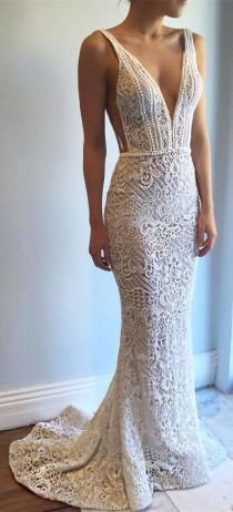 wedding photo - New Arrival Wedding Dress,Exquisite Deep V-Neck Sweep Train Lace Backless Mermaid Wedding Dress With Beading From Hiprom