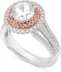 wedding photo - Marchesa Certified Diamond Engagement Ring (2-1/2 ct. t.w.) in 18k White Gold and Rose Gold