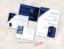 wedding photo - DIY Wedding Invite set TEMPLATE (Doctor Who Tardis blue 5X7 with 3 cards) Instant Download Just add your info and print!