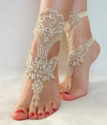 wedding photo -  champagne beach wedding barefoot sandals Free Ship ivory foot jewelry, lace sandals, beach wedding sandals, wedding bangles, anklets,
