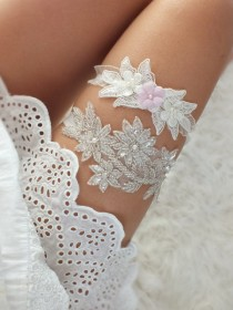 wedding photo - Wedding Garter Set ivory floral garter Bridal Garter Set - Keepsake Garter- Toss Garter- Lace Garter- Garter- Wedding Garter- Bridal Garter-