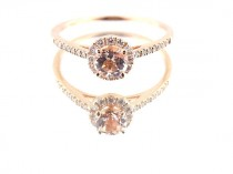 wedding photo - 14K Rose Gold Diamond and Natural Morganite Halo Engagement Ring Wedding Ring Classic Solitaire Ring Yellow Gold White Gold Antique Design