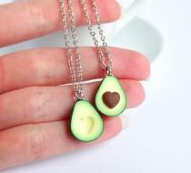 wedding photo - Green avocado bff friendship necklace pendant heart pit Valentines love bff gift bb present necklace best friend healthy food miniature