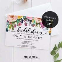 wedding photo - Watercolor Floral Bridal Shower Invitation DIY Template, Instant Download PDF, Bachelorette Party , Printable Flower Invite, MAM106_20