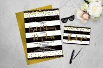 wedding photo - Gold Confetti Invitation Bridal Shower Invitations Black and White Stripes Kate Spade Inspired Printable Invitation Gold Glitter Black Gold