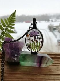 wedding photo - Fairy garden, Flowers Necklace, Fern Romantic Statement Necklace, Gift for Her, terrarium jewellery , make a wish , good luck charm, Unique