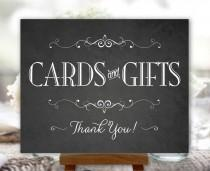 wedding photo - Cards and Gifts Sign Chalkboard Printable Wedding Sign Party DIY Digital Instant Download (#CAR2C)