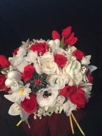 wedding photo - Disney Inspired Wedding Bridal Bouquet - Silk & Paper Flowers