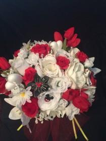 wedding photo - Disney Inspired Wedding Bridal Bouquet - Silk & Paper Flowers