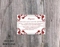 wedding photo - DIY Wedding RSVP Template Editable Word File Instant Download Rsvp Template Printable RSVP Cards Wine Red Rsvp Card Elegant Rsvp Card