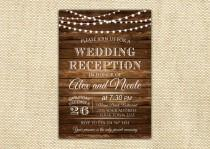 wedding photo - Wedding Reception Invitation. Rustic Wedding Reception Invitation. Custom Invitation. Light Bulb Invites. Wooden.