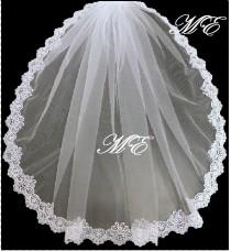 wedding photo - Mantilla veil Bridal veil 1 Tier LACE EDGE bridal veil.  long Bridal wedding veil. White, Ivory, girls communion Veil