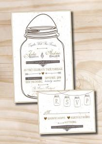 wedding photo - MASON JAR LOVE Mason Jar Rustic Wedding Invitation and Response Card Rsvp Invitation Suite