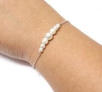 wedding photo - Sterling Silver Bracelets, Bridesmaid Pearl Bracelets, Sterling Silver and Pearl Bracelets, Bridesmaid Gift, silver bracelets