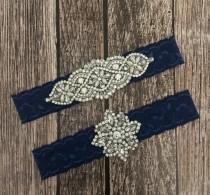 wedding photo - Wedding garter, pearl garter, navy garter, garter toss, lace and pearl, wedding garter set, garter set, something blue