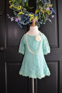 wedding photo - Aqua Turquoise Lace Flower Girl Dress, Spa Lace dress, junior bridesmaid dress, Vintage Style Dress, Beach Flower Girl dress