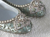 wedding photo - Golden Vines Bridal Ballet Flats Wedding Shoes - Any Size - Pick Your Own Shoe Color And Crystal Color