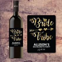 BRIDE TRIBE WINE Bottle Label - Bachelorette Party Wine Label Gift, Invite, Favor, Faux Gold