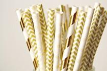 wedding photo - Paper Straws . Nude Cream and Gold Foil Stripes . Rustic Wedding Decor, Shabby chic decorations, New Years Eve, Gender Neutral Baby Shower